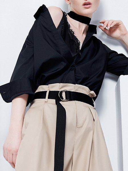 Black 3/4 Sleeve Shirt Collar Blouse