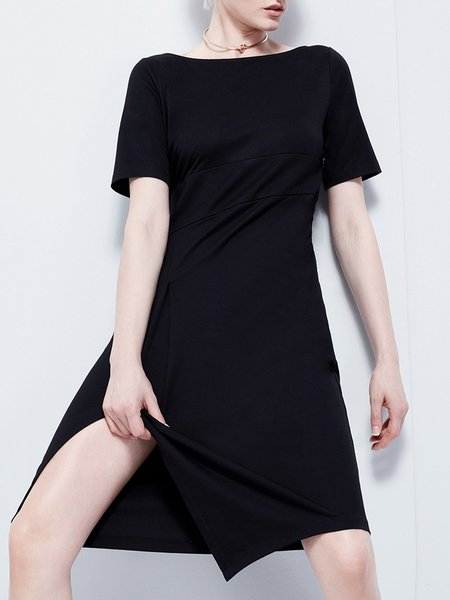 Solid Shorts Sleeve Casual boat Neck Midi Dress