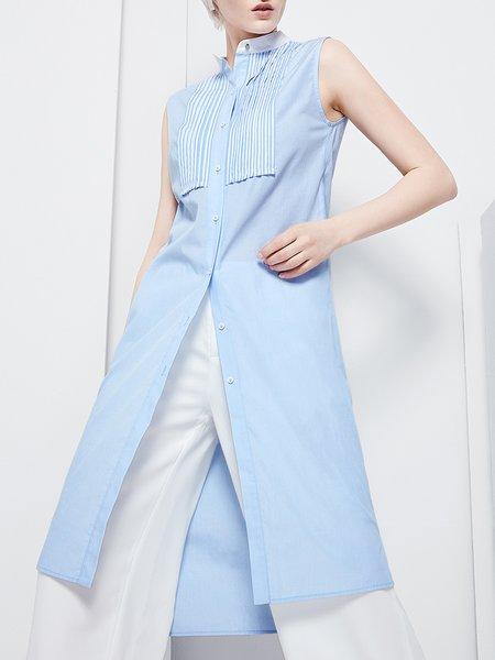 Light Blue Sleeveless Stand Collar Stripes Cotton Midi Dress