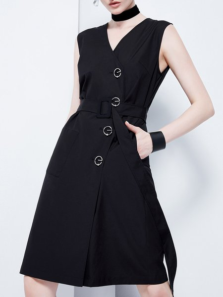 Buttoned Black Sleeveless Solid Cotton-blend Surplice Neck Midi Dress