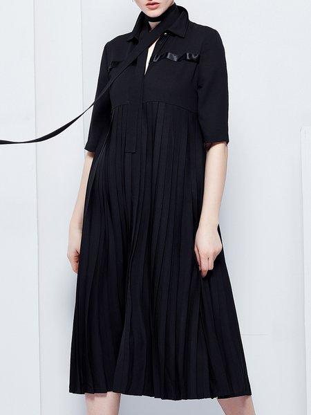 Black Pleated Casual Shirt Collar  Midi Dress