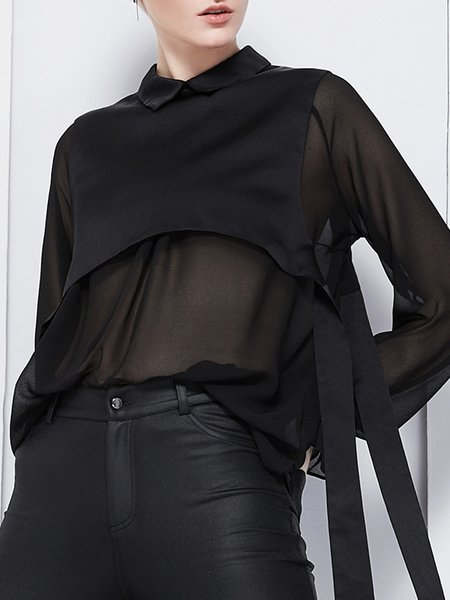 Plus Size Black Long Sleeve See-through Look Blouse