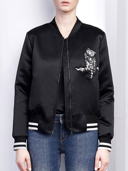 Animal Embroidered Casual Long Sleeve Bomber Jacket