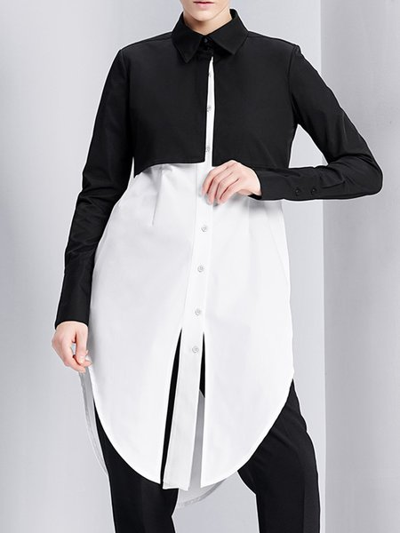 White Long Sleeve Shirt Collar Color-block Tunic