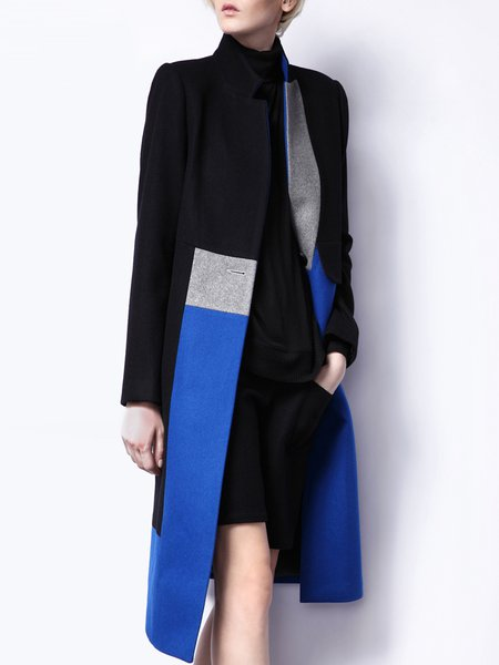 Black-blue H-line Wool blend Long Sleeve Color-block Coat