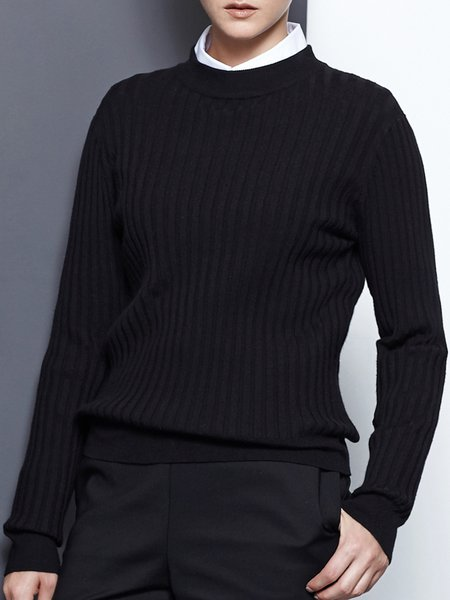 Black Turtleneck Long Sleeve Knitted Solid Sweater