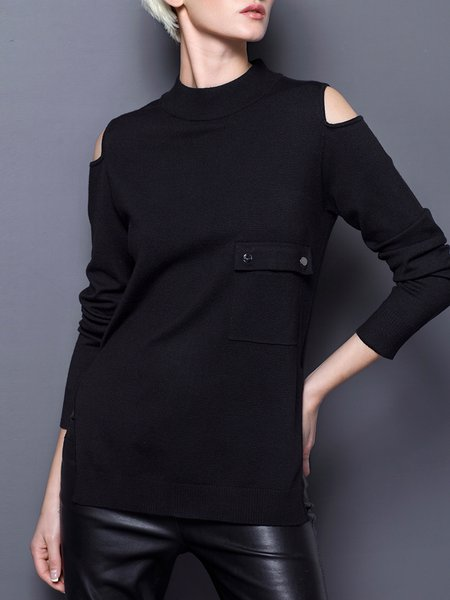 Black Turtleneck Cold Shoulder Solid Pockets Sweater