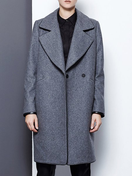 Shift Long Sleeve Simple Buttoned Wool Coat