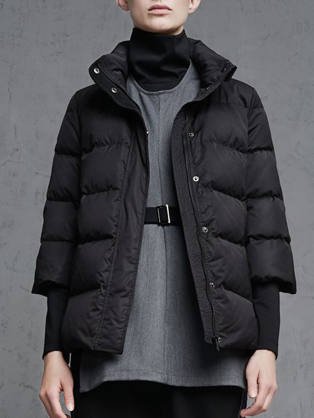 Black Buttoned 3/4 Sleeve Stand Collar Down Coat