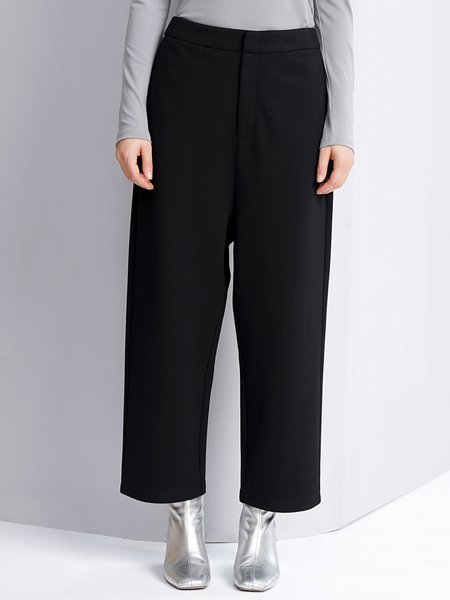 Black Simple Color-block Pockets Wide Leg Pants