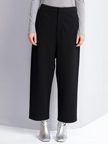 Black Simple Color-block Pockets Wide Leg Pants