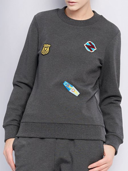 Gray Long Sleeve Crew Neck Letter Paneled Sweatshirt