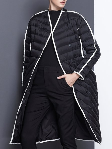 Black Casual Color-block Cocoon Down Coat