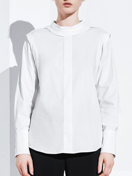 White Stand Collar Solid Cotton-blend Simple Grommet Blouse