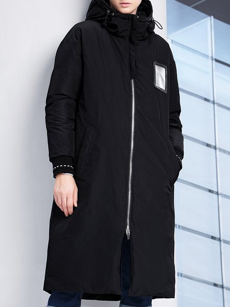 Black H-line Hoodie Paneled Long Sleeve Down Coat
