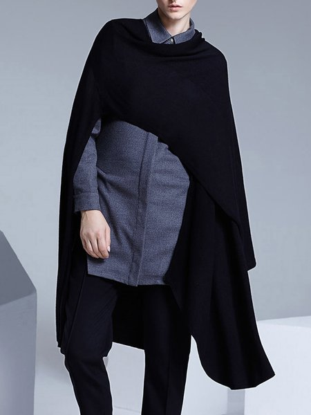 Black Casual Knitted Poncho And Cape