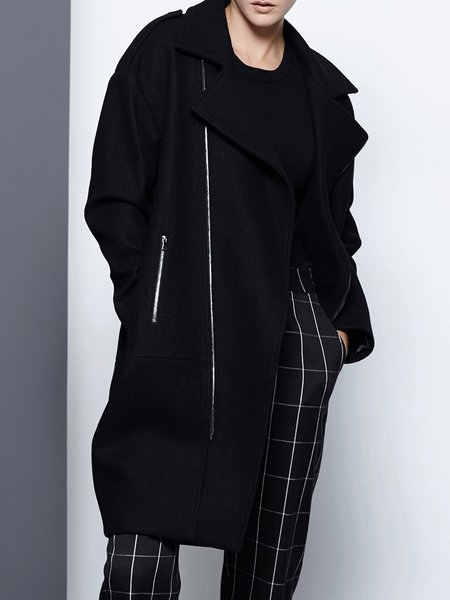 Black Lapel Casual Wool Blend Zipper Coat