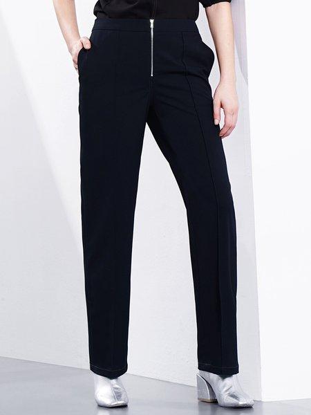 Navy Blue Pockets Straight Leg Pants