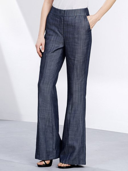 Blue Simple Solid Flared Pants
