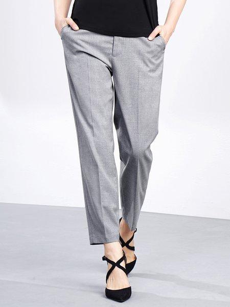 Gray Casual Straight Leg Pants