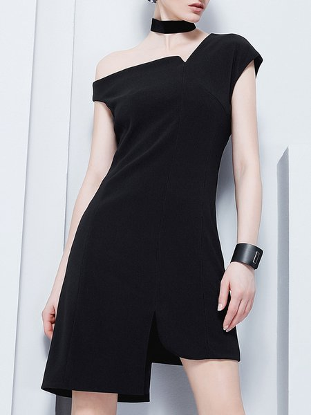 Black Solid Shorts Sleeve Cotton-blend Asymmetric Mini Dress