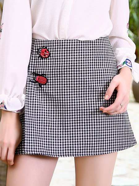 Black-white Appliqued Girly Mini Skirt