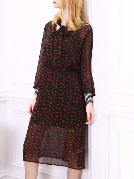 Girly A-line Polyester Floral Long Sleeve Dress With Cami