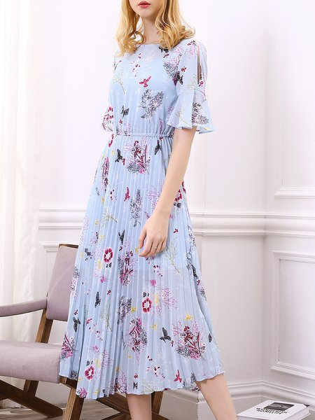 Bell Sleeve Girly Bateau/boat Neck Dress With Cami