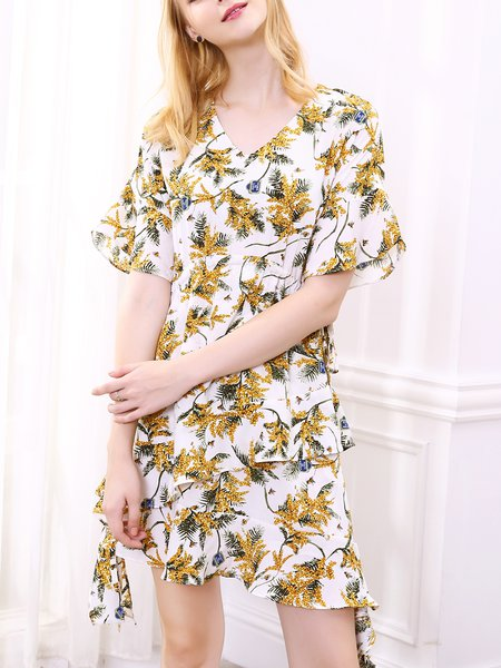 Floral Bell Sleeve Girly Midi Dress