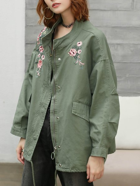 Green Floral-embroidered Casual Coat