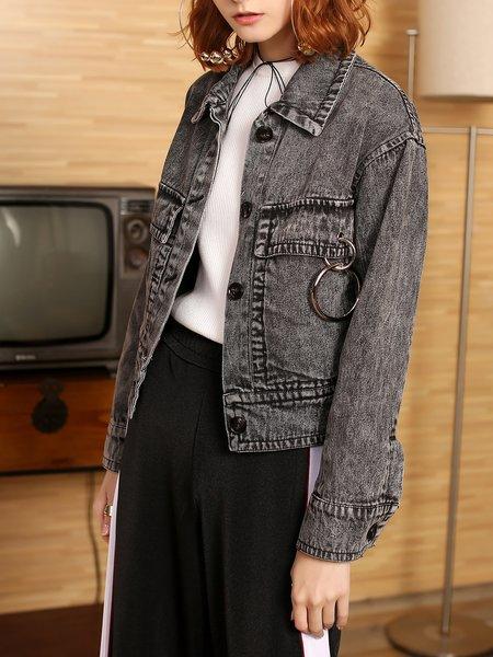 Black-grey Shirt Collar Pockets Cotton Casual Coat