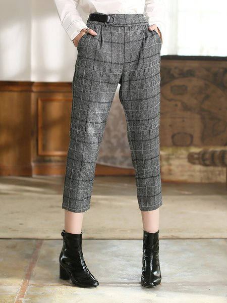 Gray Checkered/Plaid Woven Casual Straight Leg Pants