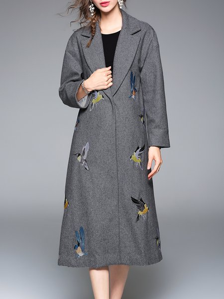 Embroidered Lapel A-line Casual Wool Blend Coat