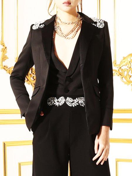 Lapel Beaded Long Sleeve Elegant False Two Piece Blazer