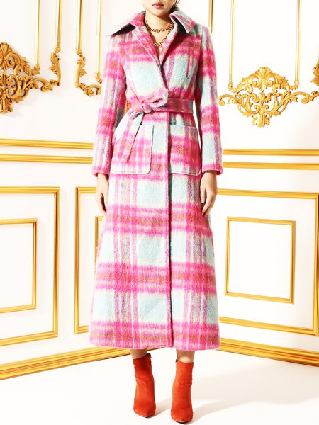 Pink Lapel Checkered/Plaid Wool Blend Long Coat With Belt