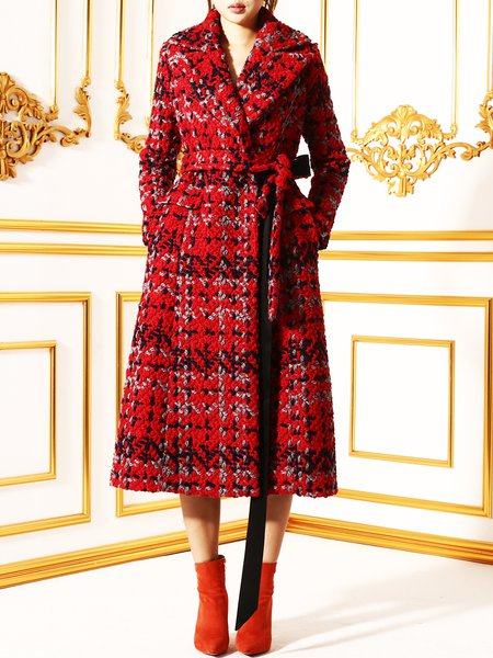 Long Sleeve Vintage Lapel Checkered/Plaid Coat With Belt