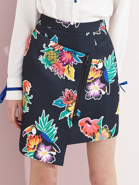 Black Floral Casual A-line Midi Skirt