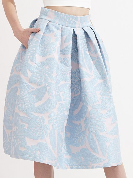 A-line Floral-print Casual Midi Skirt