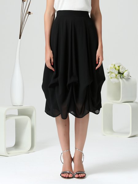 Black Solid Draped Polyester Elegant Midi Skirt