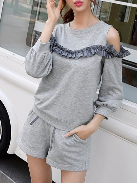 Gray Solid Cotton Casual Cold Shoulder Two-piece Set