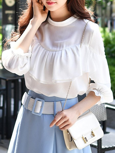 White Stand Collar Girly Ruffled Blouse