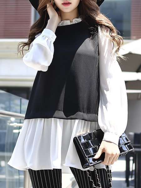 Black-white Long Sleeve Color-block Blouse