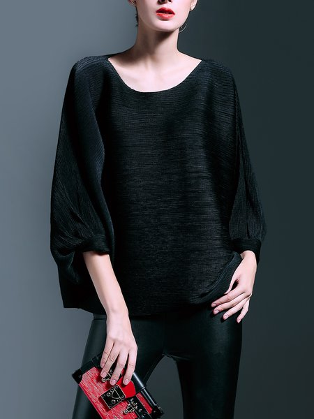 Casual Crew Neck Batwing Top