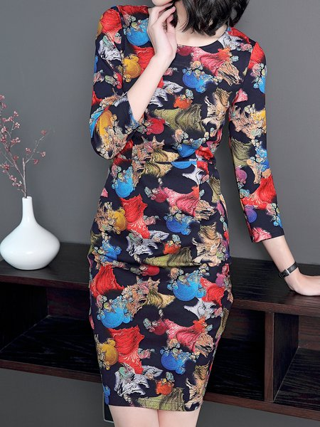 Multicolor Elegant Printed Cotton Midi Dress