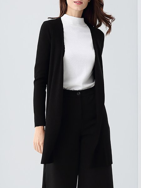 Slit H-line Long Sleeve Cotton Simple Cardigan