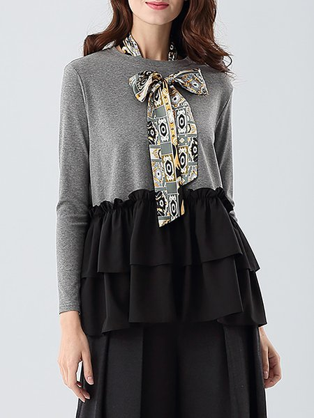 Gray Ruffled Casual Color-block Cotton Long Sleeved Top