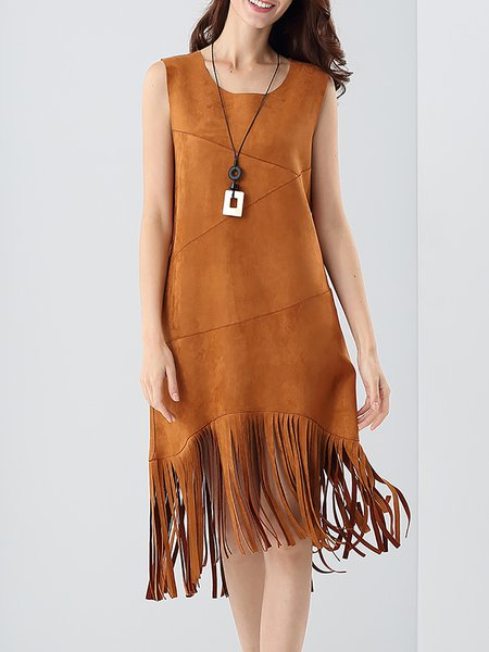 Camel A-line Fringed Sleeveless Suede Midi Dress