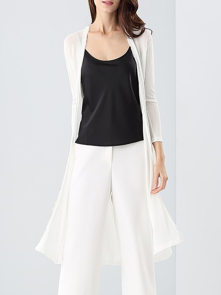 White Silk Slit Plain Casual Cardigan