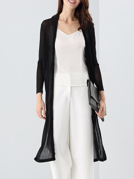 Black Plain Slit Long Sleeve Silk Cardigan