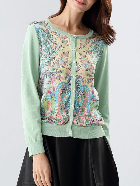 Green Floral Buttoned Long Sleeve Crew Neck Sweater